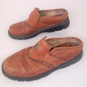 Double H 8.5 Tan Leather Mule Clogs Comfort Shoes
